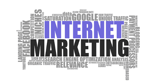 Online Marketing: Verschiedene Schlagwörter wie Google, Facebook und Search Engine Optimization
